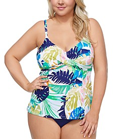 Trendy Plus Size Palm Springs Aries Tankini Top & Costa High-Waist Bikini Bottoms