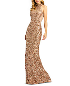 MAC DUGGAL Scalloped-Sequinned Gown