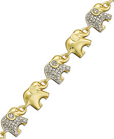 Sterling Silver-Plated or 18k Gold over Sterling Silver-Plated Diamond Accent Linked Elephant Charm Bracelet