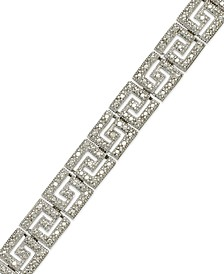 Sterling Silver-Plated Diamond Accent Greek Key Bracelet
