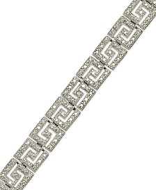 Sterling Silver-Plated Diamond Accent Greek Key Bracelet