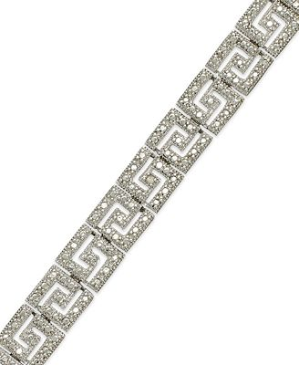 Sterling Silver Plated Diamond Accent Greek Key Bracelet