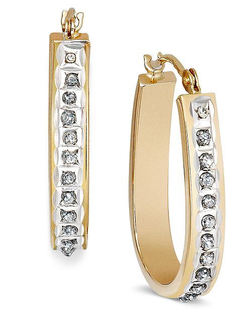 14k Rose Yellow Or White Gold Diamond Accent Pear Shaped Hoop Earrings