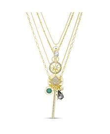 Rhinestone Charm Multi Layered Yellow Gold-Tone Necklace