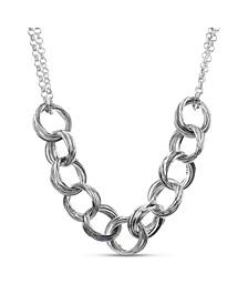 Silver-Tone Interlocking Circle Necklace