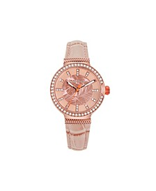 Women's Woven Fronds Crystal Rose Gold Leather Strap Watch, 32mm