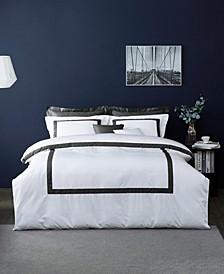 Hotel Collection Eileen Cotton Sateen Border Frame 3 Pieces Duvet Cover Set, Full/Queen