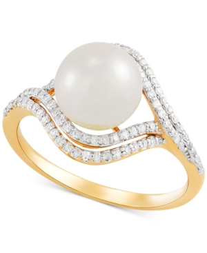 Cultured Freshwater Pearl (8mm) & Diamond (1/4 ct. t.w.) Ring in 14k Gold