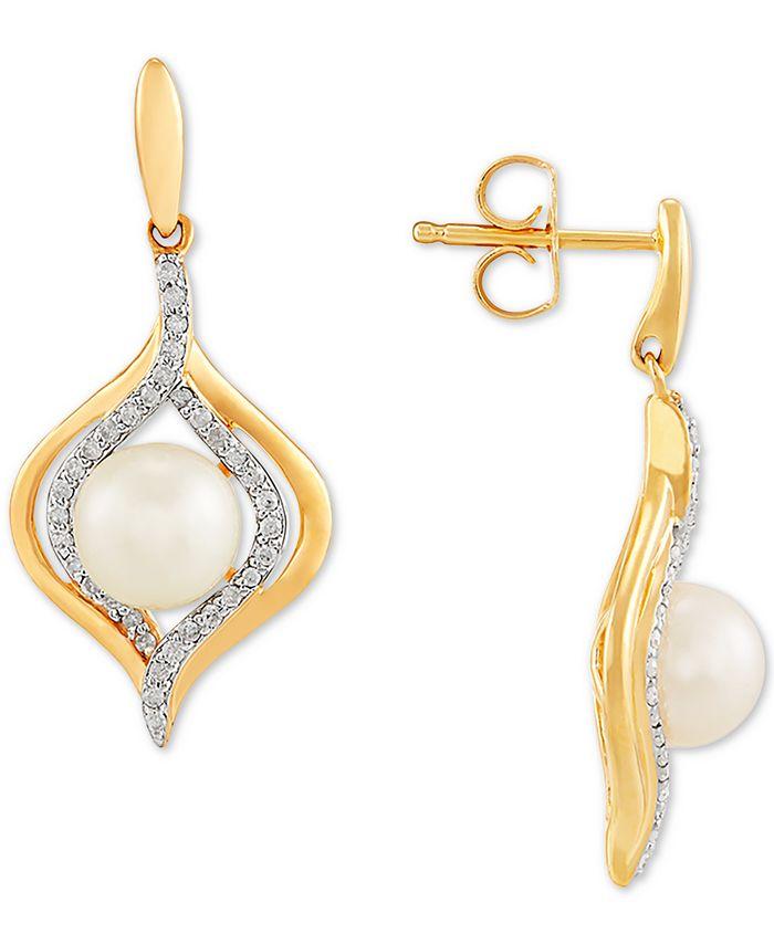Macy's - Cultured Freshwater Pearl (6-1/2mm) & Diamond (1/5 ct. t.w.) Drop Earrings in 14k Gold