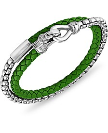 Green Leather Wrap Bracelet in Stainless Steel (Also Available in Blue Leather & Red Leather), Created for Macy's