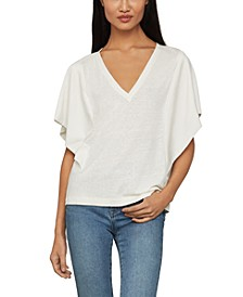Draped-Sleeve Knit Top