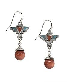 by 1928 Pewter Genuine Sandstone Indian Drop Earring