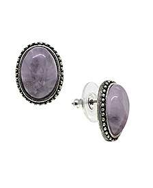 by 1928 Pewter Genuine Lavender Quartz Oval Earrings