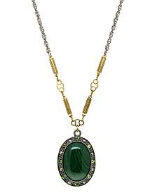 by 1928 Silver Tone Genuine Green Malachite Oval Stone Necklace