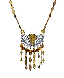 by 1928 Mixed Metals Vintage-Like Chain Necklace Arrow and Semi-Precious Tiger's Eye