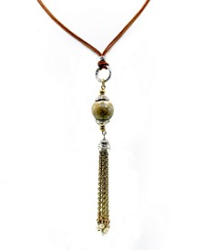 by 1928 Silver Tone Genuine River Stone Chain Tassel Leather Necklace