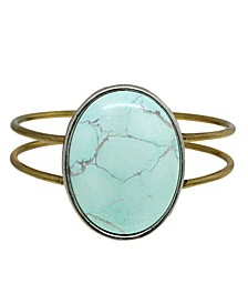 by 1928 Brass Silver Tone Genuine Howlite Dyed Turquoise Oval Hinged Bracelet