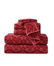 Herringbone Jacquard 6 Piece Towel Set