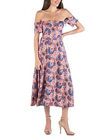 Off Shoulder Botanical Print Midi Dress with Side Slit