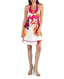 Floral Print Beaded Halter A-Line Dress