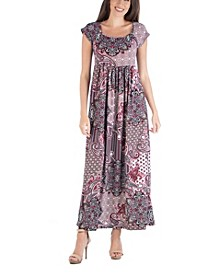 Empire Waist Scoop Neck Paisley Maxi Dress