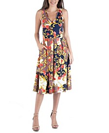 Floral Paisley Fit and Flare Dress with Pockets