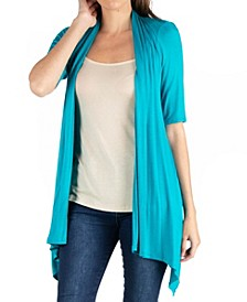 Loose Fit Open Front Cardigan with Half Sleeve
