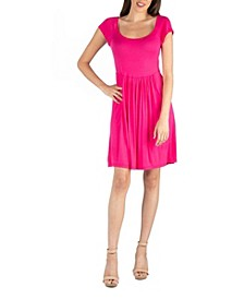 Scoop Neck Babydoll Dress with Cap Sleeves