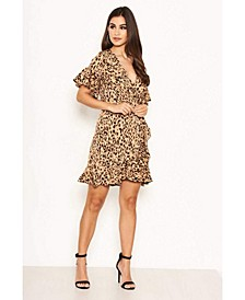 Women's Animal Print Frill Wrap Dress