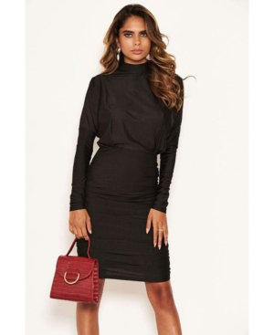 Women's High Neck Long Sleeve Ruched Dress