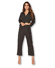 Women's Polka Dot Belted Jumpsuit