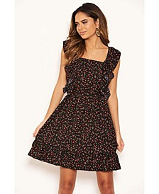 Women's Ditsy Floral Square Neck Frill Dress