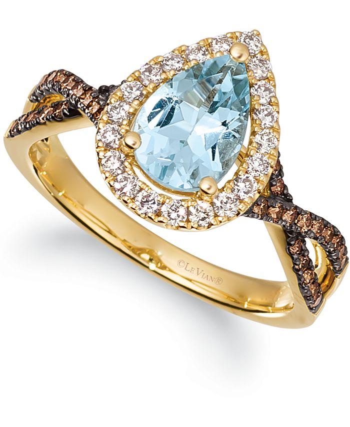Le Vian - Sea Blue Aquamarine (1 ct. t.w.) & Diamond (3/8 ct. t.w.) Ring in 14k Gold