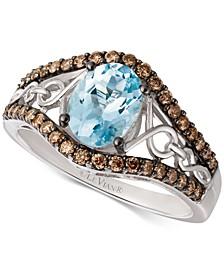 Sea Blue Aquamarine (9/10 ct. t.w.) & Diamond (3/8 ct. t.w.) Ring in 14k White Gold