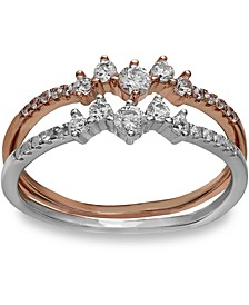 Cubic Zirconia Double Band Ring in 18k Rose Gold-Plated Sterling Silver, and Sterling Silver Created for Macy's