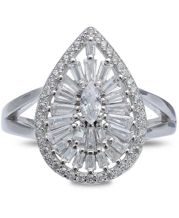 Macy's - Cubic Zirconia Teardrop Statement Ring in Sterling Silver