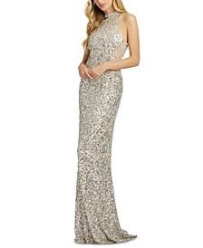 Scalloped-Sequinned Gown