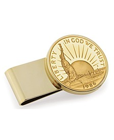 Gold-Layered Statue of Liberty Commemorative Half Dollar Stainless Steel Coin Money Clip