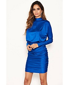 Women's High Neck Long Sleeve Ruched Dress