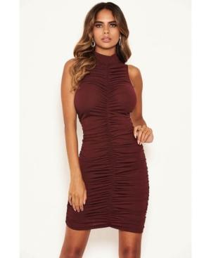 Women's High Neck Ruched Bodycon Mini Dress