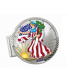 Sterling Silver Diamond Cut Coin Money Clip with Colorized American Silver Eagle Dollar