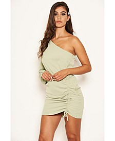 Women's One Shoulder Dress with Side Ruched Tie Detail