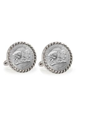 2005 Bison Nickel Rope Bezel Coin Cuff Links