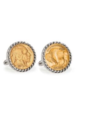 Gold-Layered Buffalo Nickel Rope Bezel Coin Cuff Links