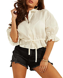 GUESS Lilla Linen Puff-Sleeve Top