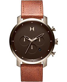 Men's Chronograph Nomad Land Brown Leather Strap Watch 45mm
