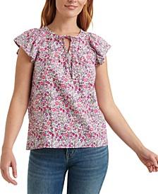 Floral-Print Flutter-Sleeve Top