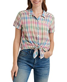 Plaid Tie-Front Collared Shirt