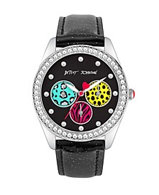 Women's Animal Printed Sub Dial Black Glitter Polyurethane Strap Watch 40mm