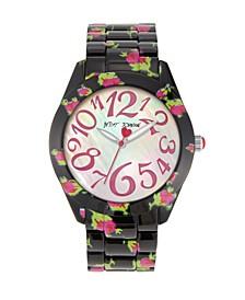 Women's Floral Black Bracelet Watch 42mm